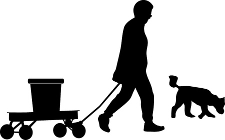 Silhouette of item carrier a person and dog illustration Ilustracja