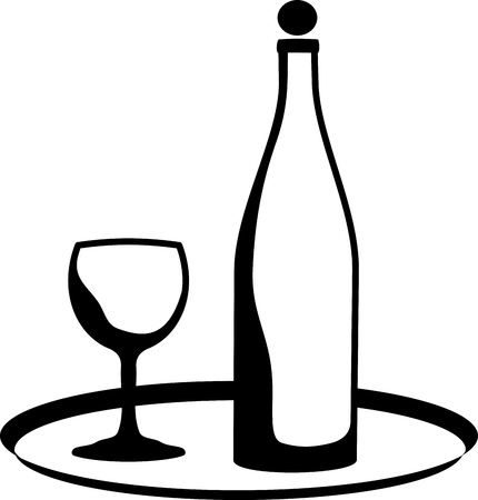 Image of the drink service with wine bottle and glass silhouette. Stock Illustratie