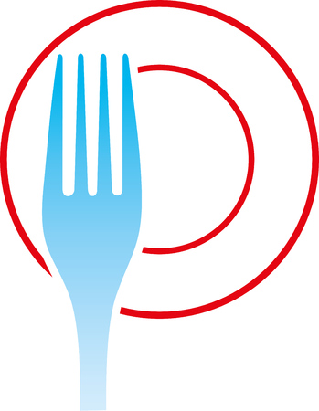 fork and plate vector illustration on white background. Stock Illustratie