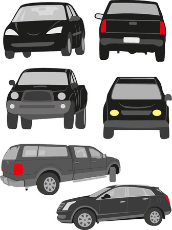SILHOUETTES OF ROAD TRANSPORT VEHICLES illustration.