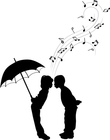TWO CHILDREN SINGING IN DUET vector illustration. Illustration