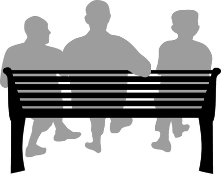 THREE ELDERLY PEOPLE ON A BENCH Ilustração