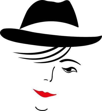 FEMALE FACE HEADDRESS OF BLACK HAT Standard-Bild - 116596970