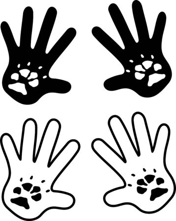 Hands with canine footprints on white Illustration