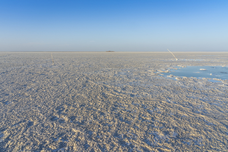Bubbling pond in the salt flats of Asale Lake in the Danakil Depression in Ethiopia, Africa