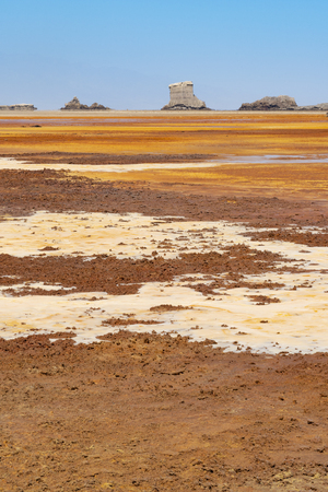 Acid and salty concretions on Dallol site in the Danakil Depression in Ethiopia, Africa