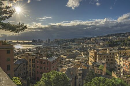 View of Genoa at sunset from Spianata Castelletto, Italy Stok Fotoğraf