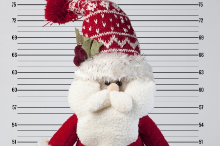 arrested: papa noel posing in front of a police card