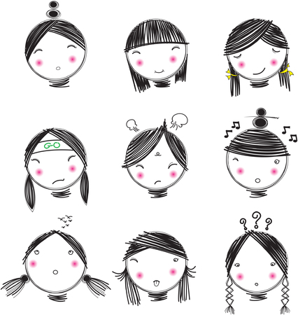 face women's Comics vector Reklamní fotografie - 107236948