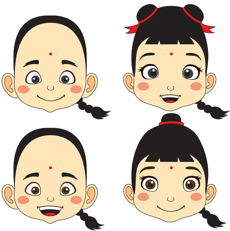 Chino. Ilustración de vector de dibujos animados cara niño y niña