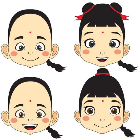 Chinois. Dessin animé visage garçon et fille illustration vectorielle
