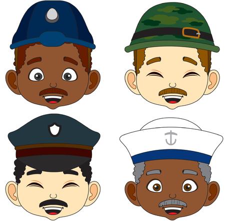Soldier. Cartoon Face man vector illustration