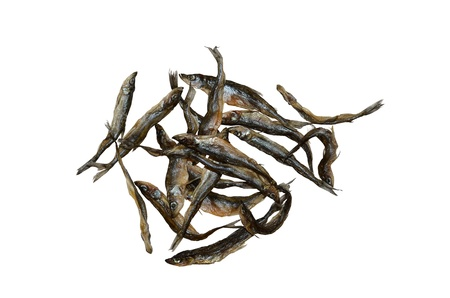 redeye: dried fish on a white background