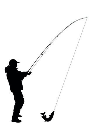 trout fishing: Illustration - fisherman vector
