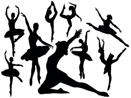 ballet clásico: Conjunto de bailarines de ballet ilustración de las siluetas Vectores