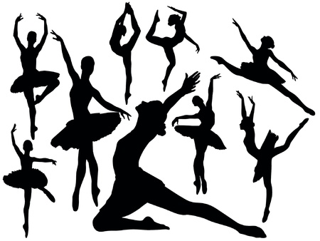 performing: Set of ballet dancers silhouettes illustration