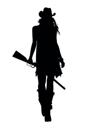 woman with gun: cowboy Illustration