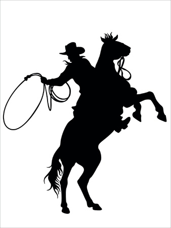 cowboy on horse: cowboy and horse  Illustration