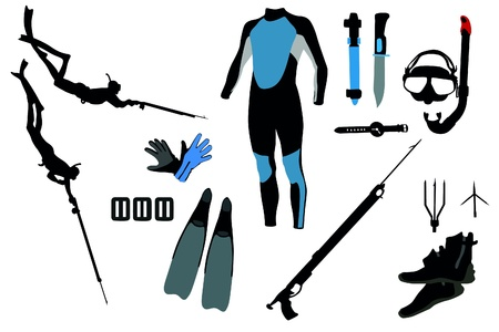 spearfishing: diving equipment Illustration
