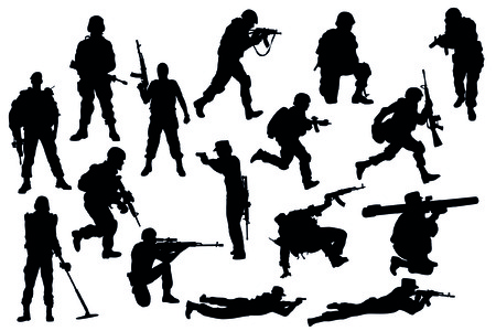 military silhouettes: military Illustration