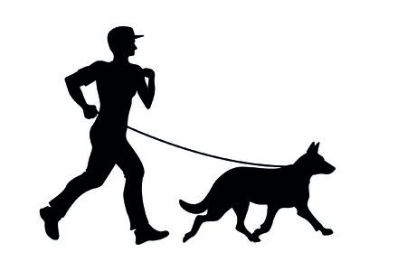 gens courir: homme avec chien