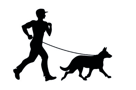 dog running: man with dog Illustration