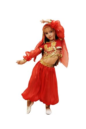 india dance: a girl dances east dance on a white background Stock Photo