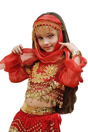 beautiful indian girl face: a girl dances east dance on a white background Stock Photo