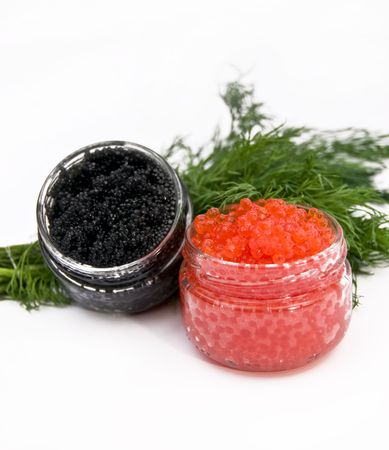 red and black caviar on a white background photo