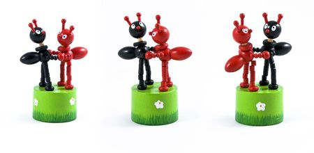 Two toy black and red ant, wooden Stock Photo - 7083249