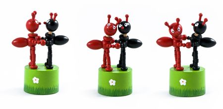 Two toy black and red ant, wooden Stock Photo - 7083248