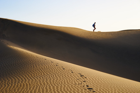 desert: Hiking people on sandy and wavy dunes with stylish forms in a wide desert under blue sky