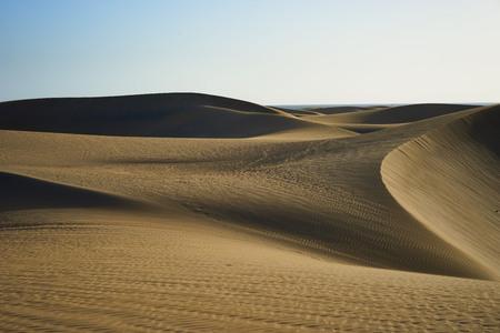 desierto del sahara: las dunas de arena en el desierto de dunas de arena con formas onduladas y redondas en un amplio desierto bajo el cielo azul