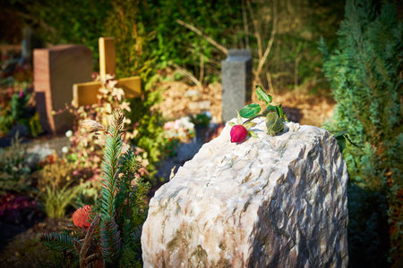 graveyard: Gravestone with withered rose Tomb stone on graveyard Sorrow about loss of beloved ones