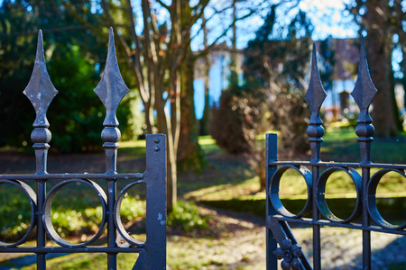 terrifying: Open gate to property Fence with finials terrifying fence with Spearheads