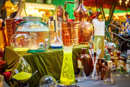 distillers: paraphernalia for chemistry experiments bubbling and steaming
