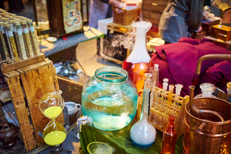 distill: paraphernalia for chemistry experiments bubbling and steaming