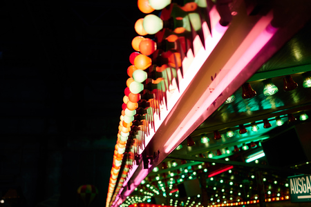 colorful fluorescent bulb on funfair