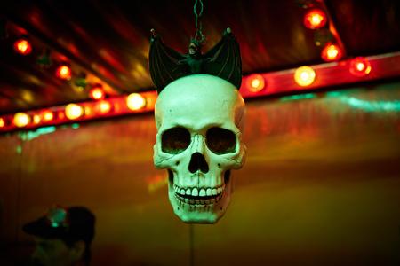 affraid: ghost train skull with bat on steampunk funfair Stock Photo