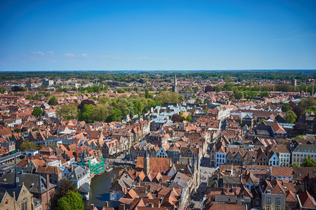 View over Bruges  Beautiful old town of Bruges in Belgium Stock Photo