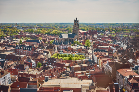 bruges: View over Bruges  Beautiful old town of Bruges in Belgium Stock Photo