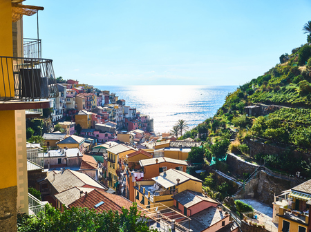 Famous town of Manarola in Cinque Terre  Colorful houses of Liguria Stock Photo