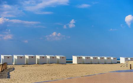 Sandy dunes with grass  Beach of Belgium near Nieuwpoort