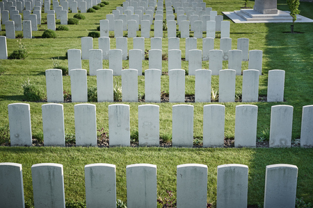 memorial for soldiers fall of world war one in Belgium  white gravestones on cemetery in Belgium