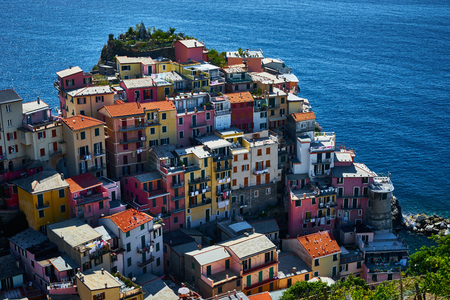 spezia: Famous town of Manarola in Cinque Terre  Colorful houses of Liguria Stock Photo