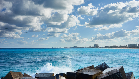 playa: Mexican Beaches in Cancun  Main beach at Hotel Area of ??Cancun between Chac mool and Gaviota Stock Photo