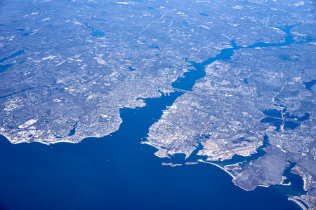 scotia: Northeast Canada from high above  Arctic lands of Newfoundland