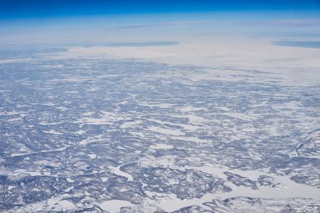 Noordoost-Canada van hoog boven  Arctische landen van Newfoundland