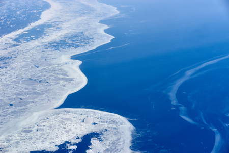 Arctic Ocean and northern landscape with ice in North-East America  Environmental Issus of Global Warming