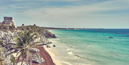 Ruins of Tulum / Caribbean coast of Mexico - Quintana Roo - Cancun - Riviera Maya Standard-Bild